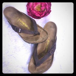 Birkenstock Adria Flip Flop Sandal Brown Leather